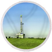 Oil Rig In North Dakota Round Beach Towel