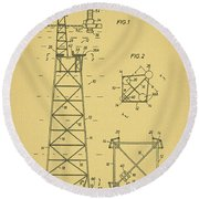 Oil Rig Patent Round Beach Towel