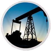 Oil Rig Silhouette Round Beach Towel