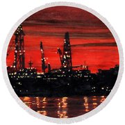 Oil Rigs Night Construction Portland Harbor Round Beach Towel