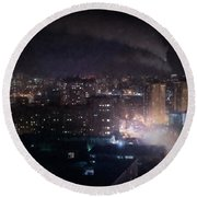 Oil Style City At Night Image Round Beach Towel