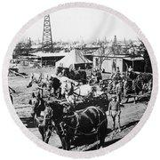 Oil: Texas, 1920 Round Beach Towel