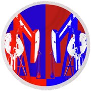 Oil Well Pump Abstract Round Beach Towel
