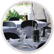 Oils And Glass At Dinner Round Beach Towel