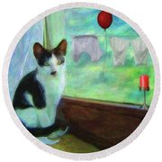 Ok I'll Pose - Painting - By Liane Wright Round Beach Towel