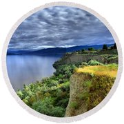 Okanagan Lake On A Thursday Round Beach Towel