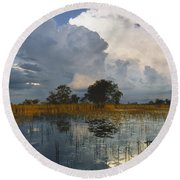 Okavango Delta Evening Round Beach Towel