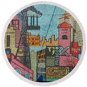 Oklahoma City Bricktown Mosaic Wall Round Beach Towel