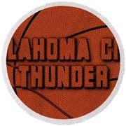 Oklahoma City Thunder Leather Art Round Beach Towel