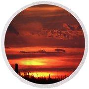 Oklahoma Sky At Daybreak  Round Beach Towel