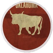 Oklahoma State Facts Minimalist Movie Poster Art Round Beach Towel