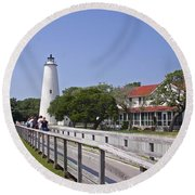 Okracoke Island Lighthouse Round Beach Towel