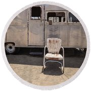 Old 1930 Silver Camping Trailer Round Beach Towel by Edward Fielding