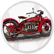 Old 1930's Indian Motorcycle Round Beach Towel by Mamie Thornbrue