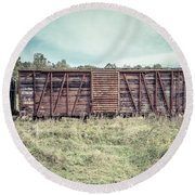 Old Abandoned Box Cars Central Vermont Round Beach Towel