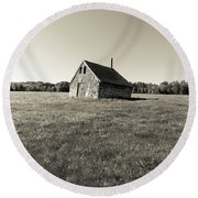 Old Abandoned Farm Building Round Beach Towel