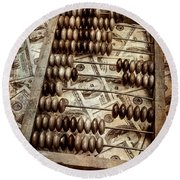 Old Accounting Wooden Abacus Round Beach Towel