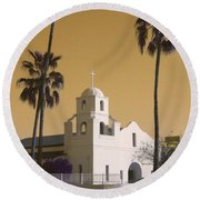 Old Adobe Mission Poster Round Beach Towel