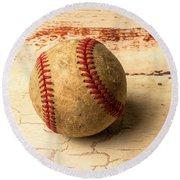 Old American Baseball Round Beach Towel