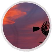 Old American Farm Windmill With A Sunset  Round Beach Towel