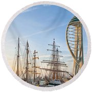 Old And New At Gunwharf Quays Round Beach Towel