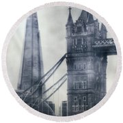 old and new London Round Beach Towel