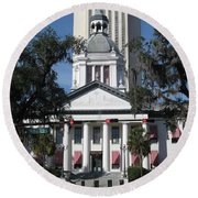Old And New State Capitol Round Beach Towel