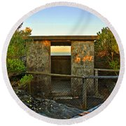Old Army Lookout In Sunset Hour Round Beach Towel