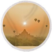 Bagan Balloons, Burma. Round Beach Towel