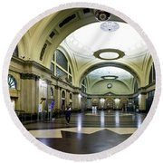 Old Barcelona Train Station Round Beach Towel