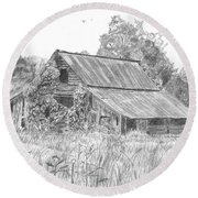 Old Barn 4 Round Beach Towel by Barry Jones