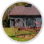 Old Barn And Rusty Farm Implement 02 Round Beach Towel