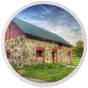 Old Barn At Dusk Round Beach Towel by Scott Norris