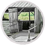 Old Barn At The Farm On Sunny Day Round Beach Towel