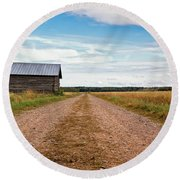 Old Barn By The Gravel Road Round Beach Towel