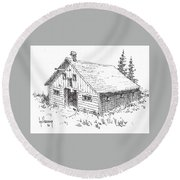 Old Barn Cable Ghost Town Montana Round Beach Towel