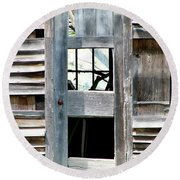 Old Barn Closeup Round Beach Towel