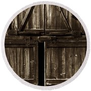 Old Barn Door - Toned Round Beach Towel