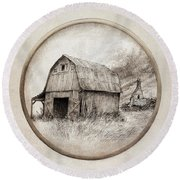 Old Barn Round Beach Towel by Eric Fan
