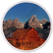 Old Barn Grand Tetons National Park Wyoming Round Beach Towel by Dave Welling