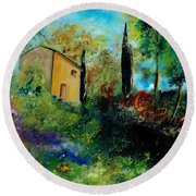 Old Barn In Provence  Round Beach Towel