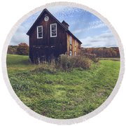 Old Barn Out In A Field Round Beach Towel