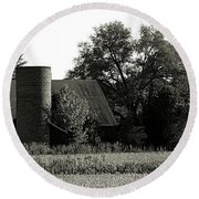 Old Barn Outbuildings And Silo  Round Beach Towel
