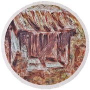 Old Barn Outhouse Falling Apart In Decay And Dilapidation Rotting Wood Overgrown Mountain Valley Sce Round Beach Towel