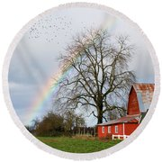 Old Barn Rainbow Round Beach Towel