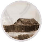 Old Barn With Mount Hood In Sepia Round Beach Towel