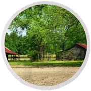 Old Barns In The Woods Round Beach Towel