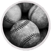 Old Baseballs In Black And White Round Beach Towel by Edward Fielding
