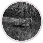 Old Bench Concord Massachusetts Round Beach Towel