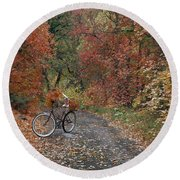 Old Bike In Autumn Round Beach Towel